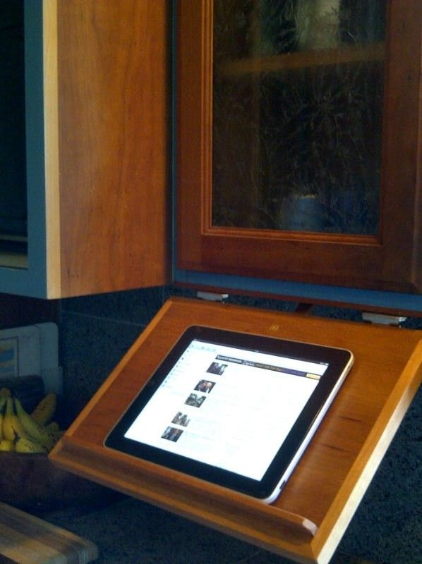 kitchen furniture store sink bottom grid custom made under cabinet pull-down tablet computer ...