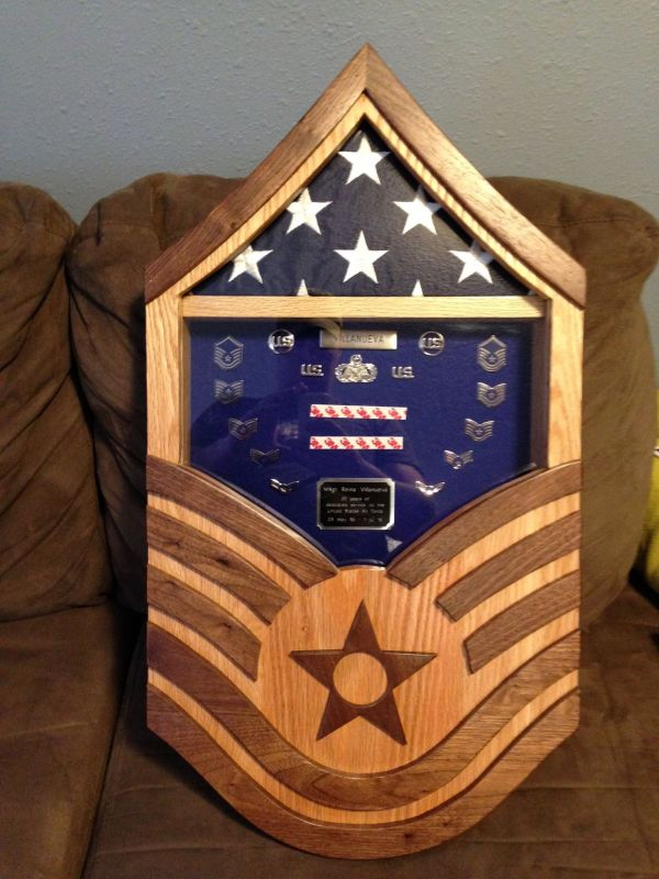 Handmade Air Force Master Sergeant Shadow Box Stars And