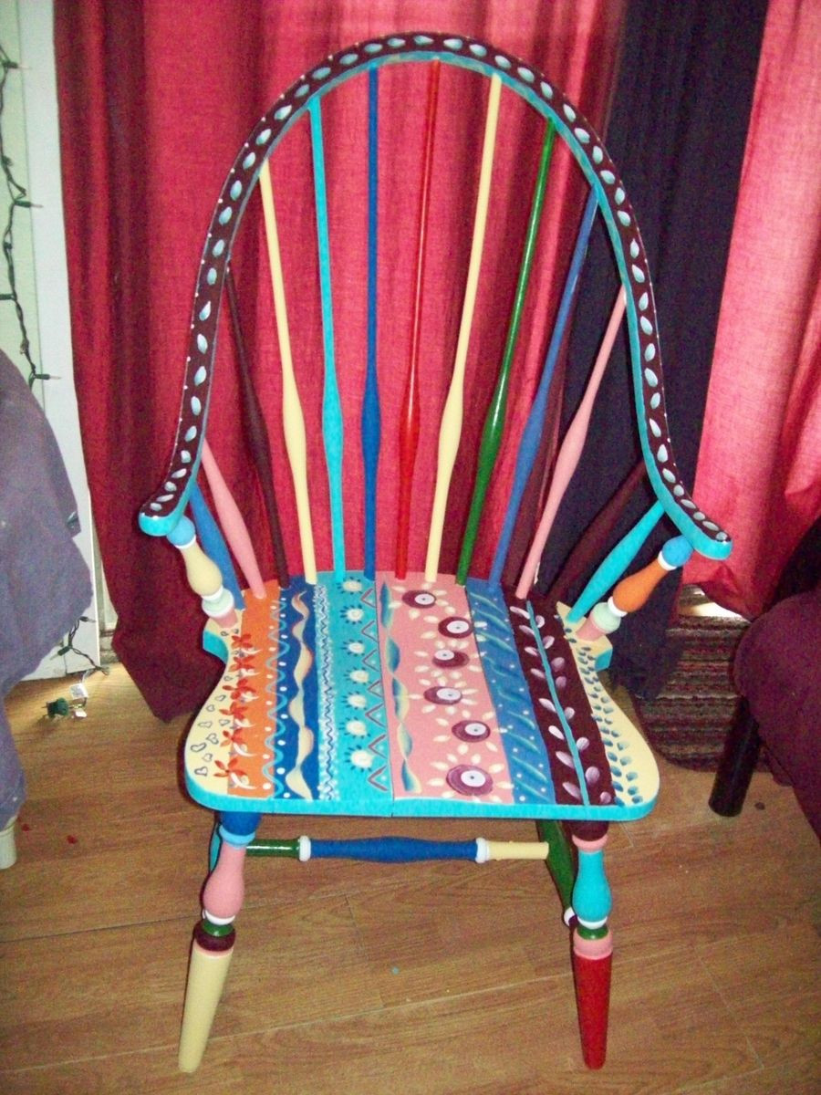 Custom Dining Room Antique Arm Chair Handpainted Multi