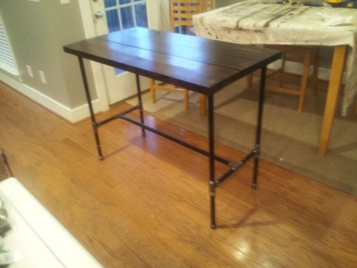 Hand Made Reclaimed Wood And Black Iron Pipe Table By