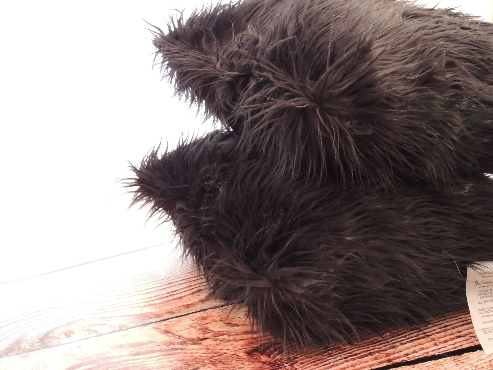 Hand Crafted Mongolian Black Faux Fur 18 X 18 In