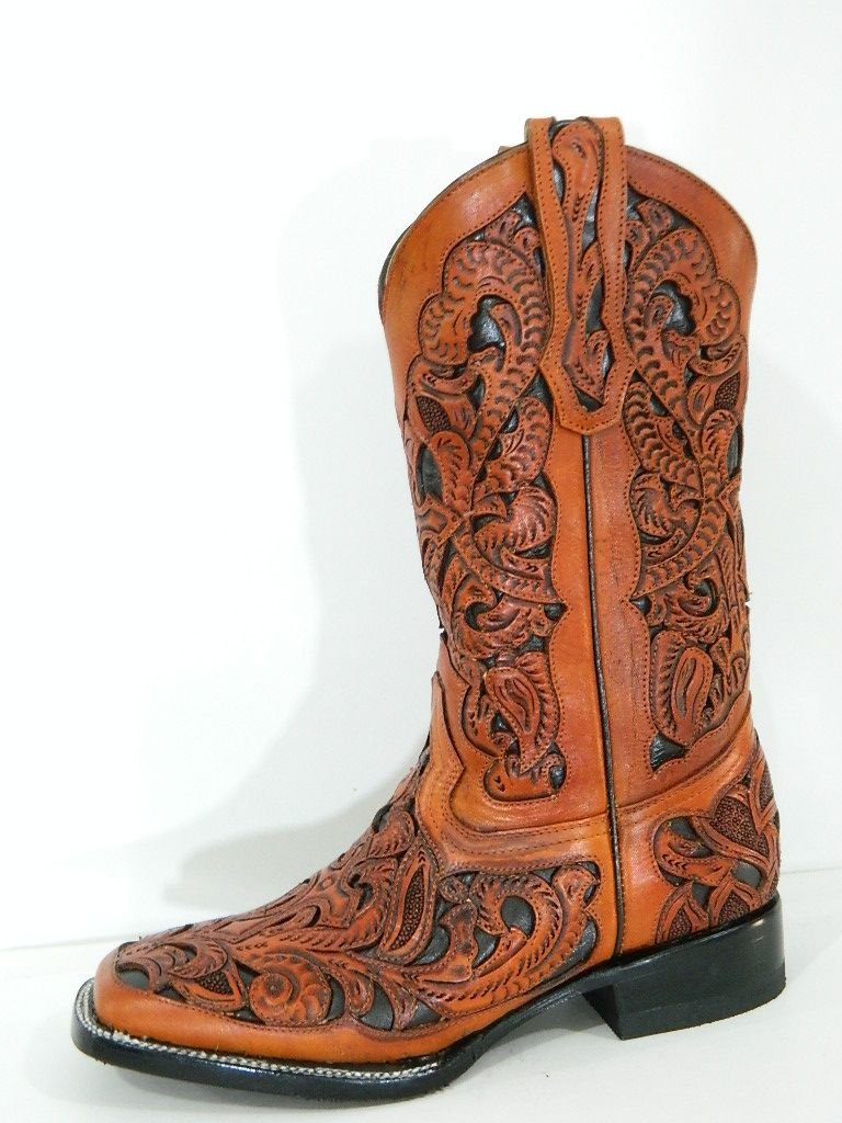 Hand Crafted Hand Tooled And Inlayed Men Cowboy Boots