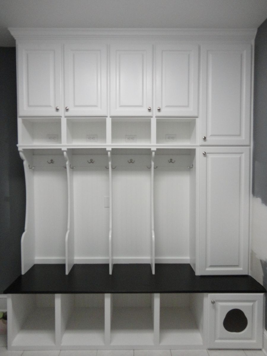 Hand Crafted Custom Mudroom Locker With Cat Door And Wall Cabinet Unit By Ss Creative Concepts