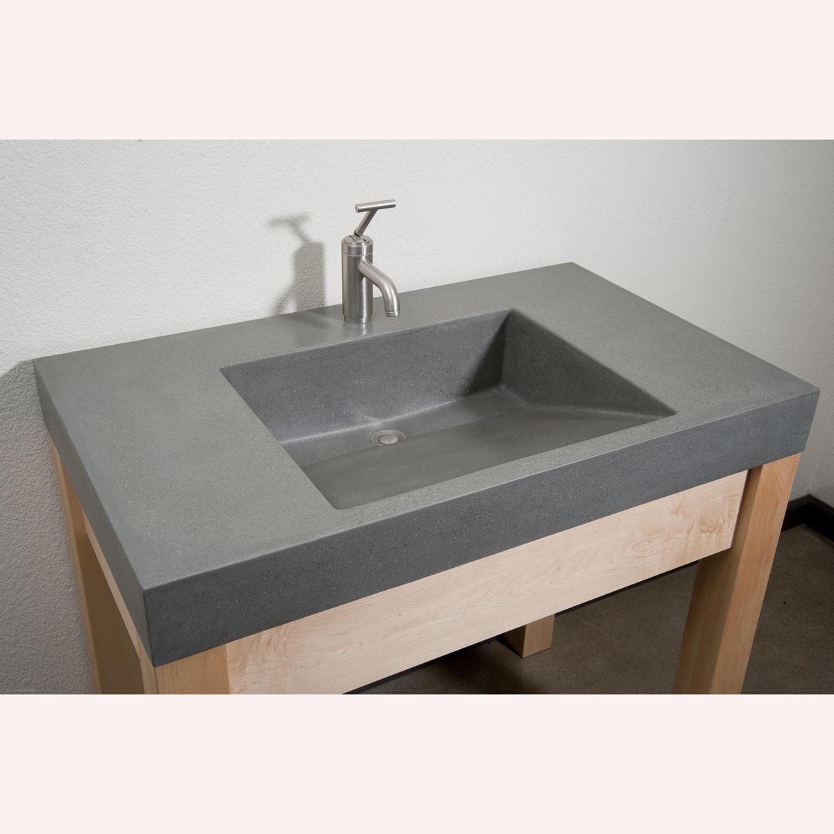 Handmade Portland Grey Ramp Sink Concrete Vanity With Maple Stand by Bohemian Stoneworks
