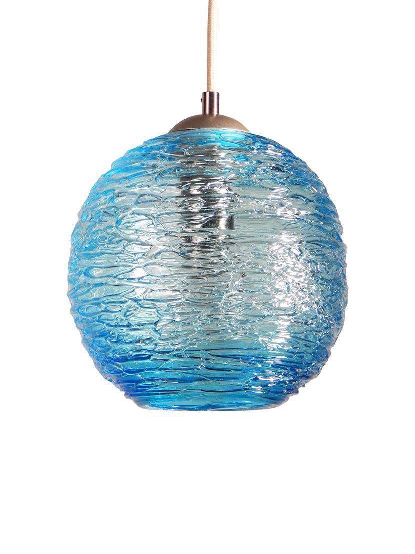 Buy A Handmade Spun Glass Aqua Globe Pendant Light Made