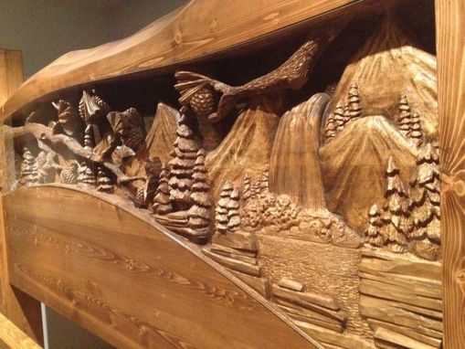 Hand Made King Size Headboard  Footboard Waterfall  Pine Forest Scene Hand Carved By Scott