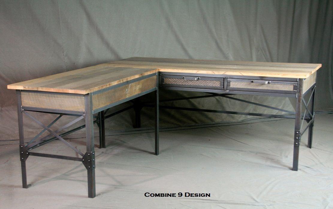 Buy a Hand Made Vintage Industrial L Shaped Desk