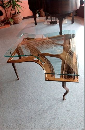 Hand Made Repurposed Piano Harp Table With Custom Glass by