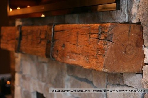 Buy Handmade Fireplace Mantel With Metal Straps Made To