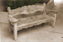 Hand Bench Grape Design - Redwood Carved