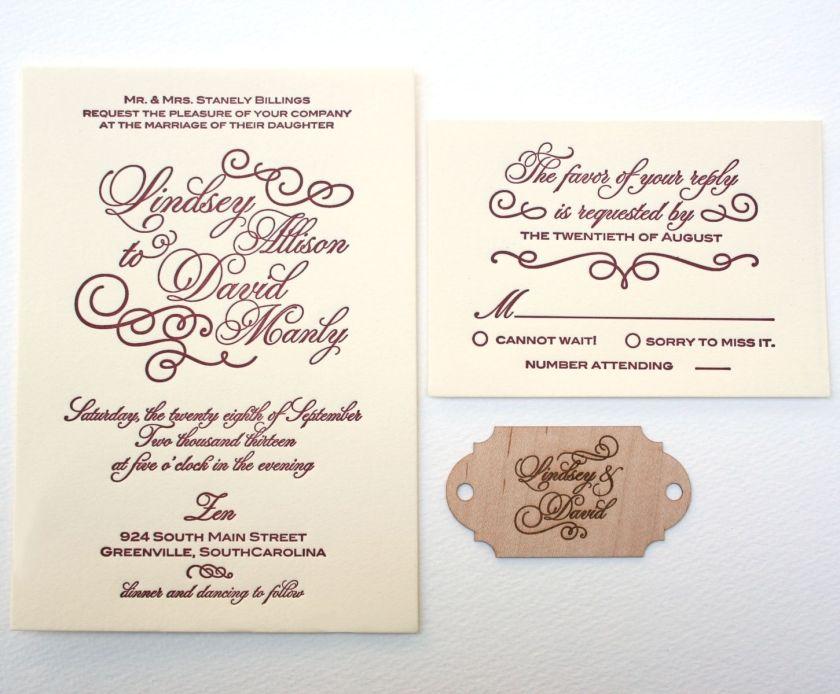 Custom Made Letterpress Calligraphy Wedding Invitation With Wood Monogram Laser Engraved