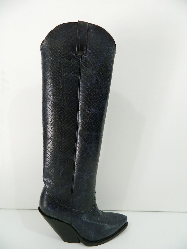 Hand Crafted Black Distressed Python Leather Cowboy Boots 22 Inch Tall 45 Heels Men Sizes by