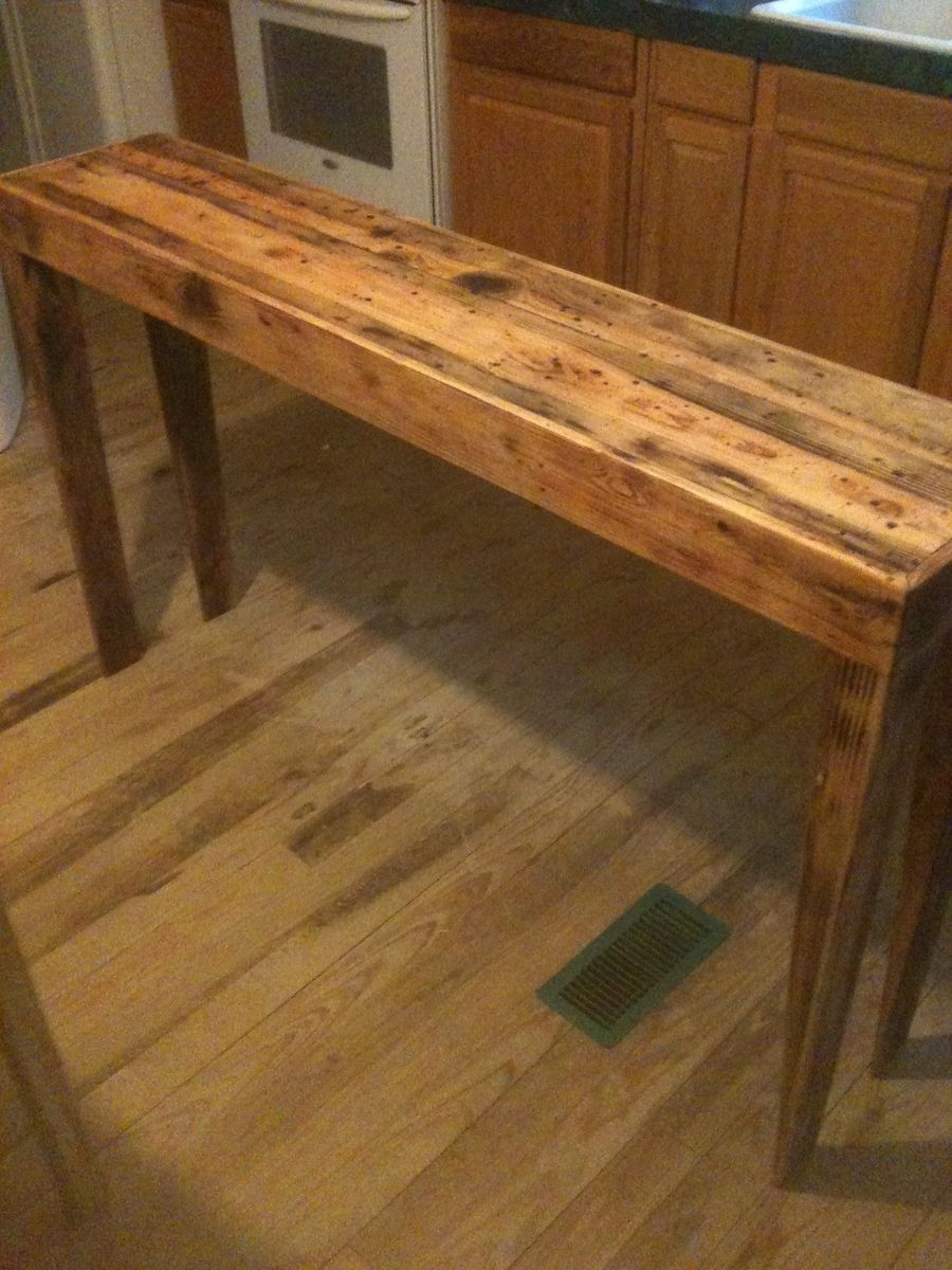 Hand Made Rustic Pine Distressed Sofa Table by Robert
