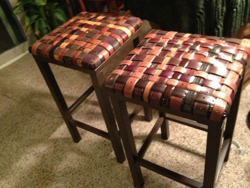 farmhouse kitchen table and chairs pavestone outdoor hand crafted custom backless barstools with woven recycled ...