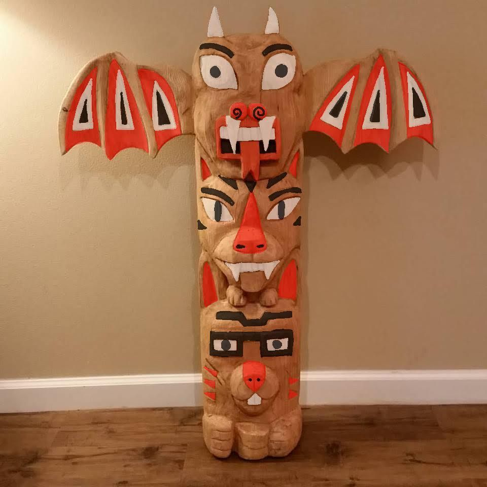 Hand Made Family Totem Pole By Roxana Casillas Sculpting