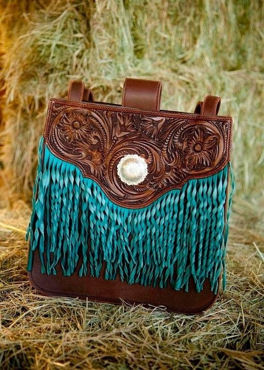 Handmade Classy Cowgirl Hand Tooled  Fringed Handbag by Clair Kehrberg Fine Leather Art
