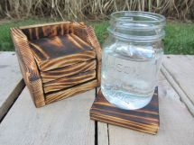 Hand Crafted Coaster Set Of 4 With Holder