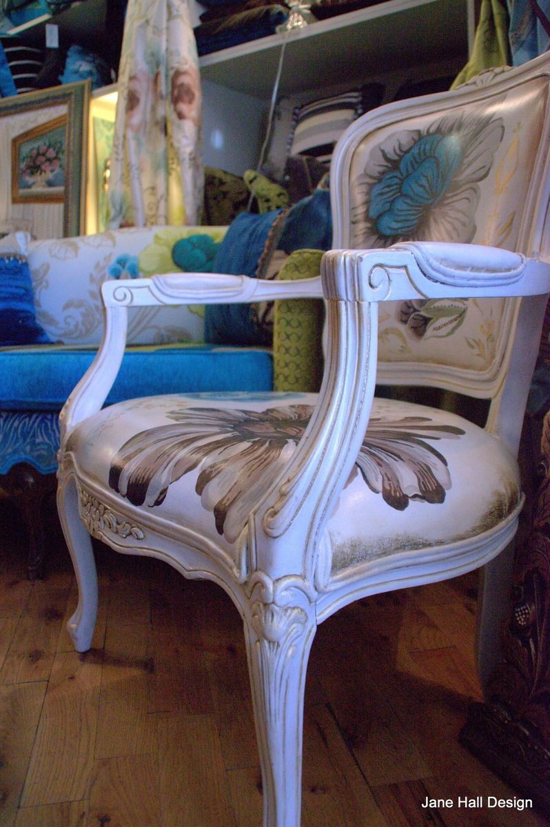 Custom Hand Painted Floral Berger Chair By Jane Hall The