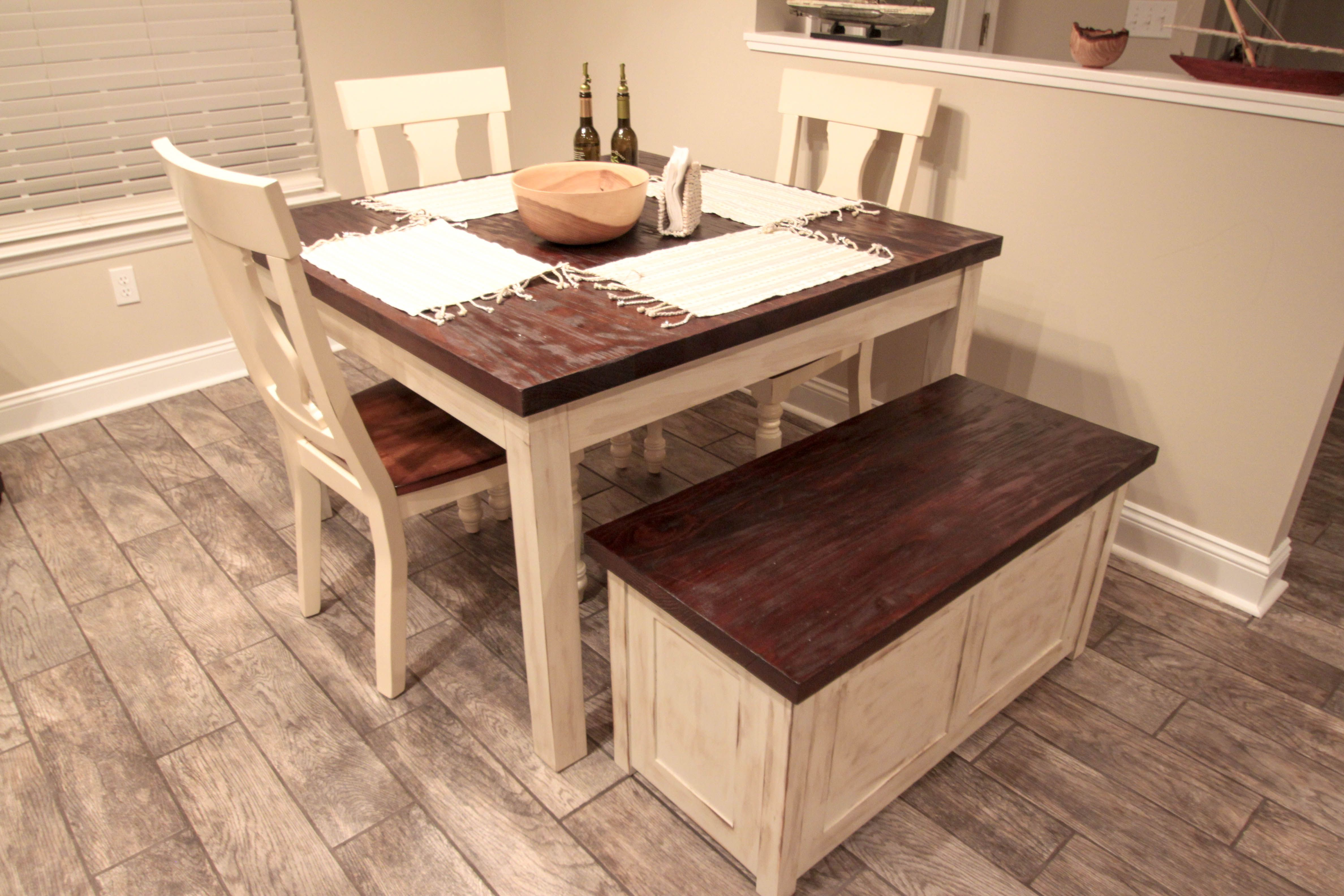 Hand Made Rustic Farmhouse Table And Storage Bench By Chip