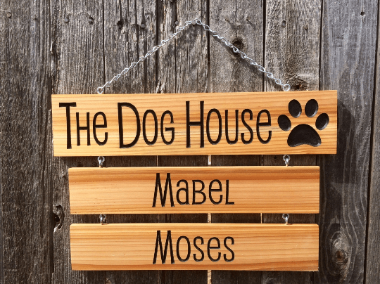 Buy A Hand Crafted The Dog House Hanging Name Sign Made To Order
