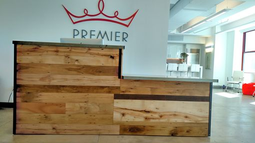 Handmade Reclaimed WoodSteel Reception Desk By Redwell
