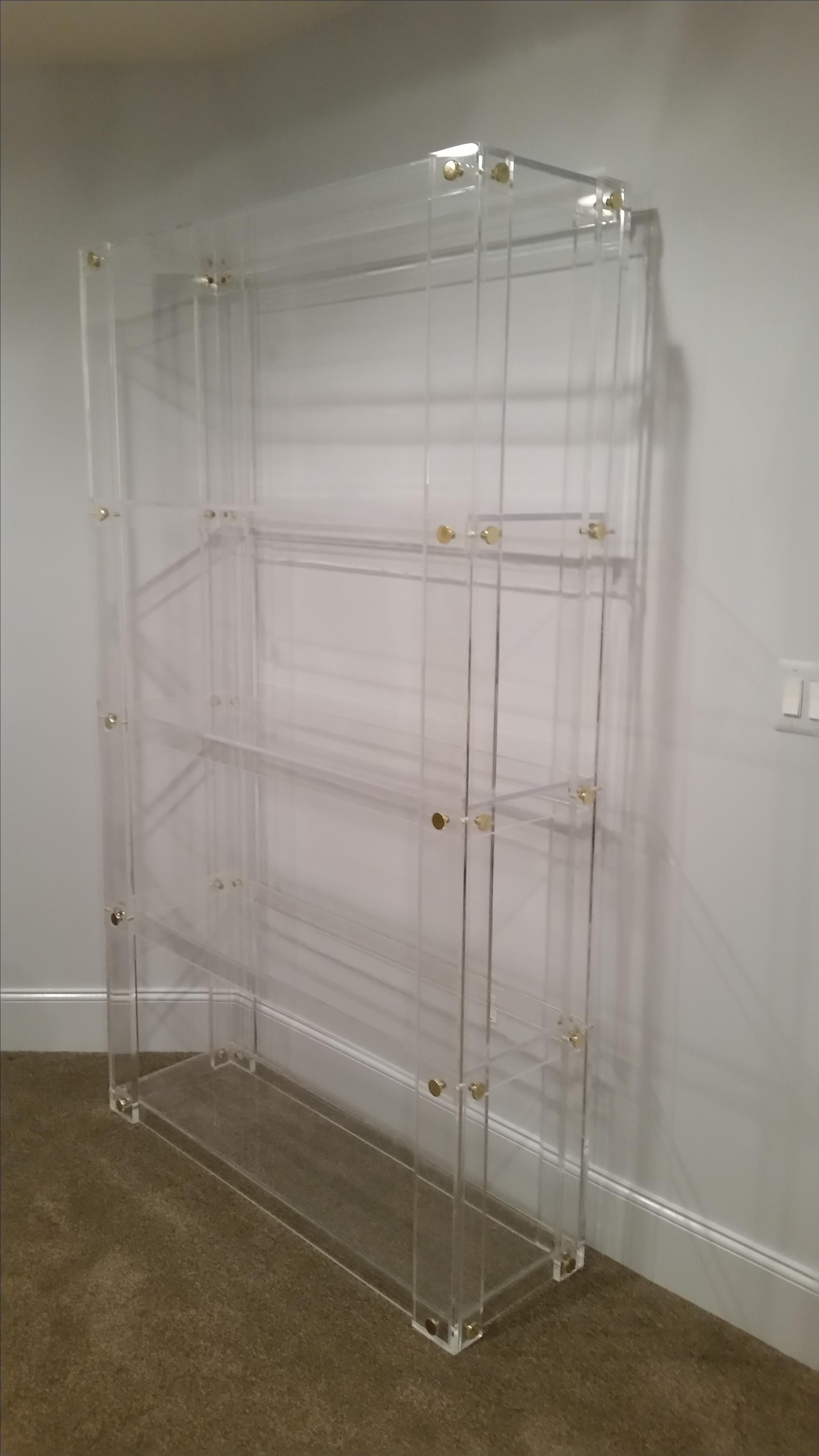 Hand Made Lucite  Acrylic Bookcase  Button Line