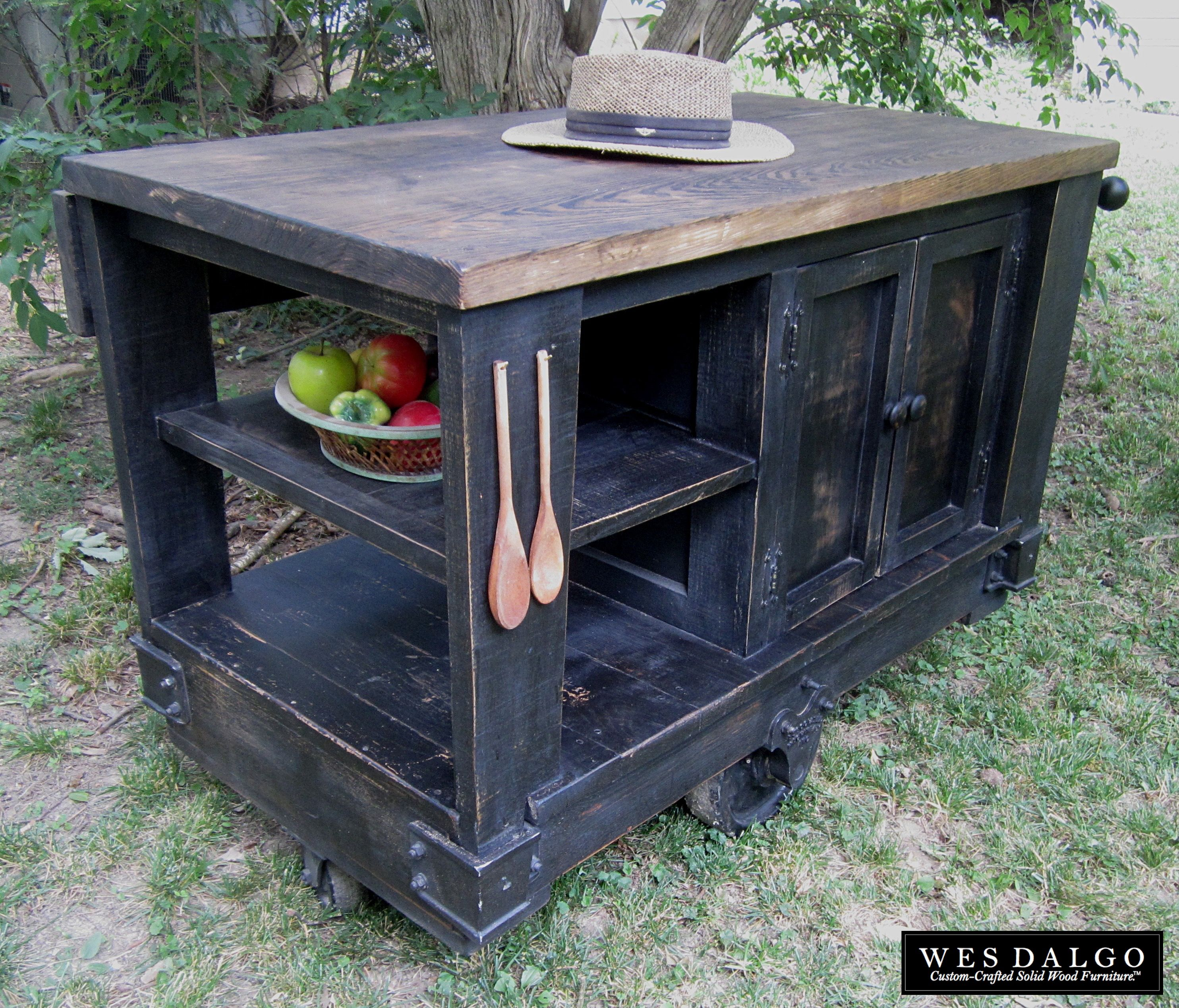 Buy Custom Distressed Black Modern Rustic Kitchen Island Cart With Walnut Stained Top Made To Order From Wes Dalgo Custommade Com