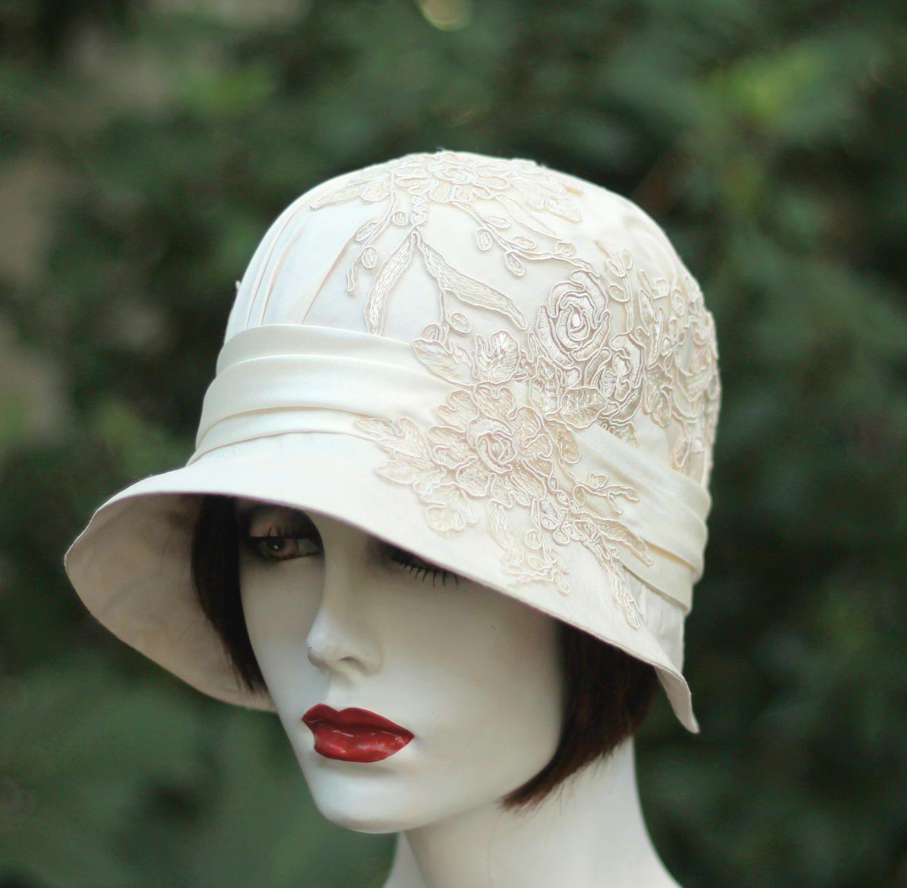 Custom 1920s Vintage Style Great Gatsby Cloche Wedding Hat