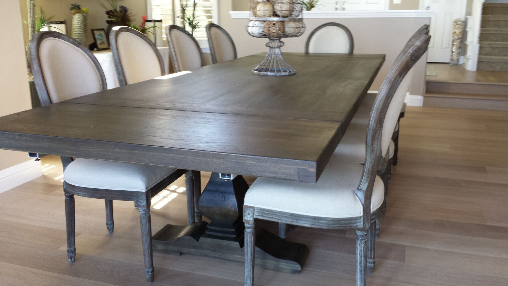 Hand Made Pecan Trestle Dining Table by Santini Custom