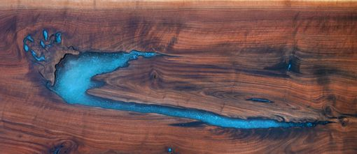 Custom Made Live Edge Walnut Epoxy ResinTurquoise Inlay