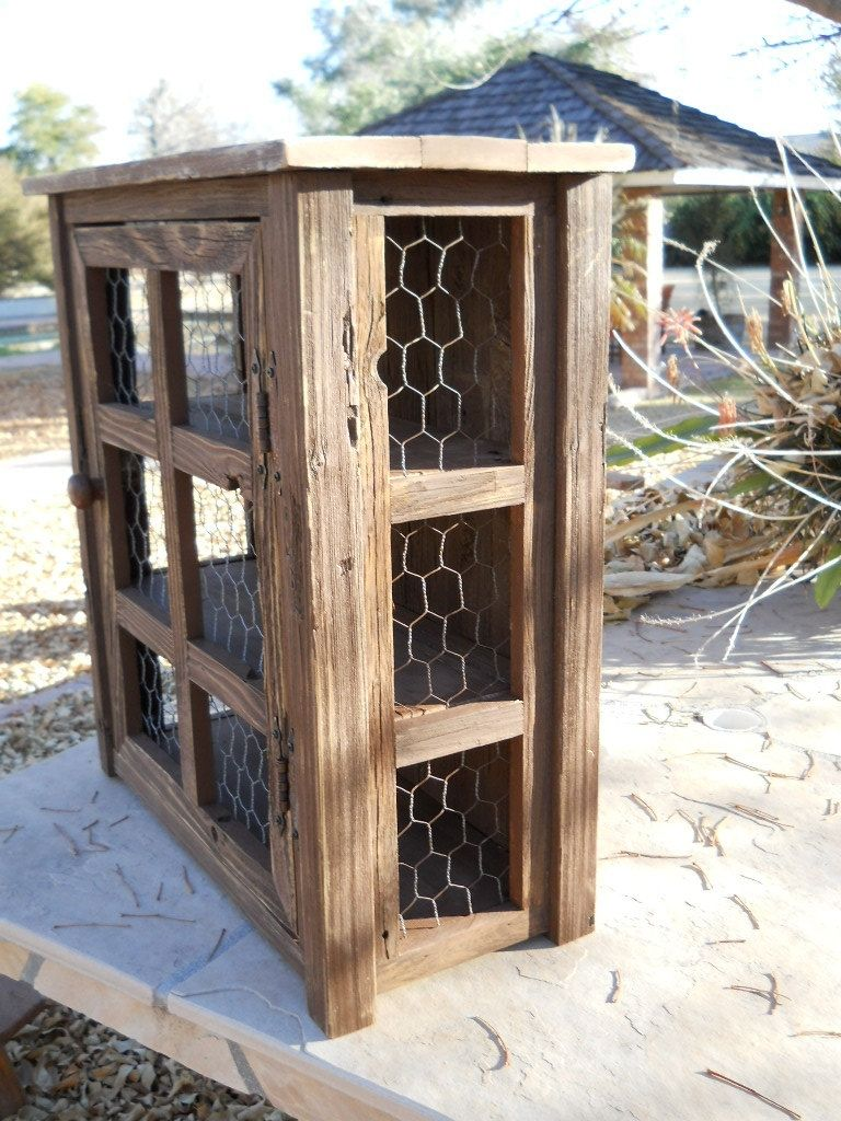 Custom Small Wooden Medicine Cabinet Or Pie Safe by