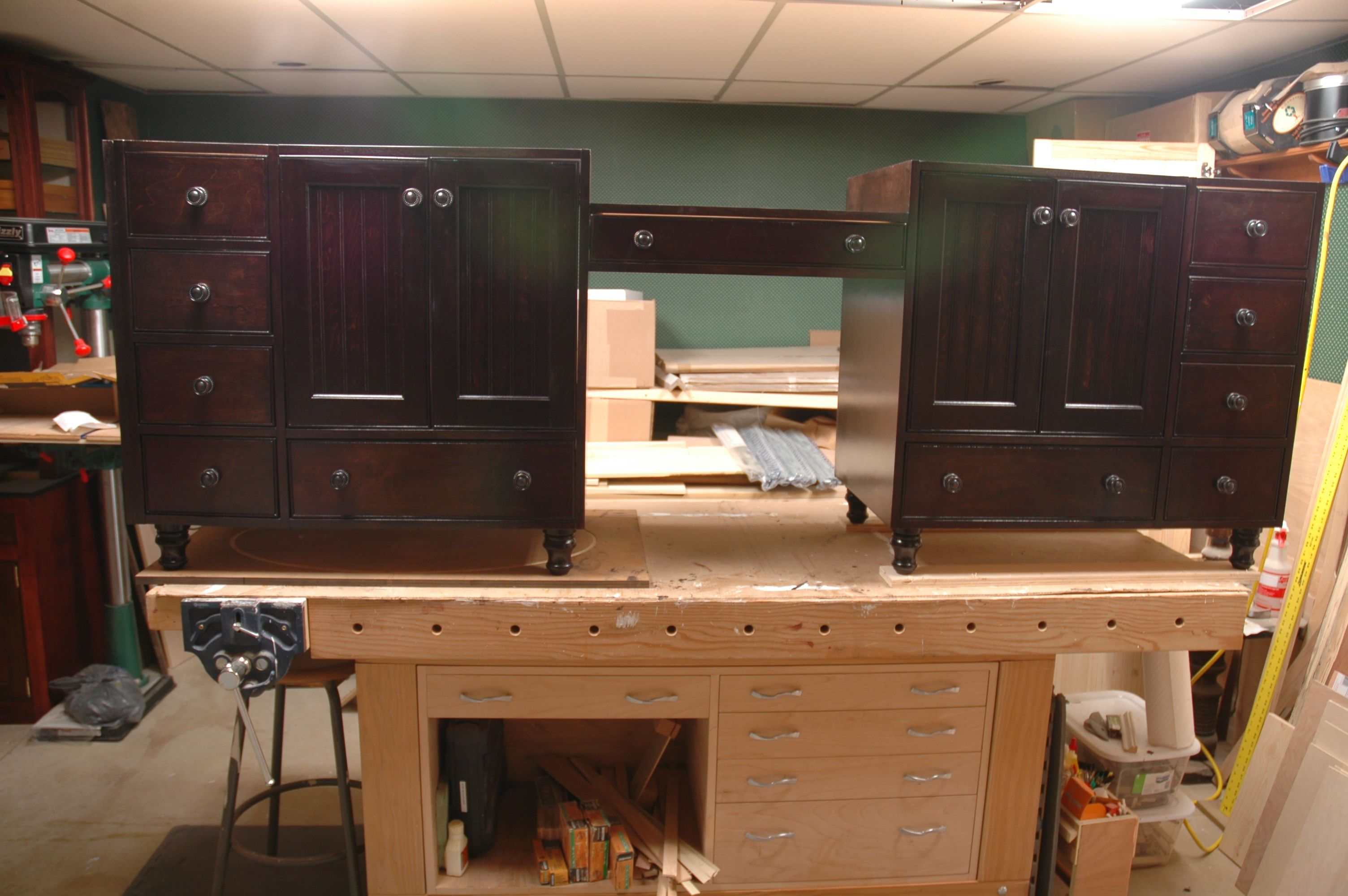 Handmade 96 Double Vanity And Makeup Station By Wooden It
