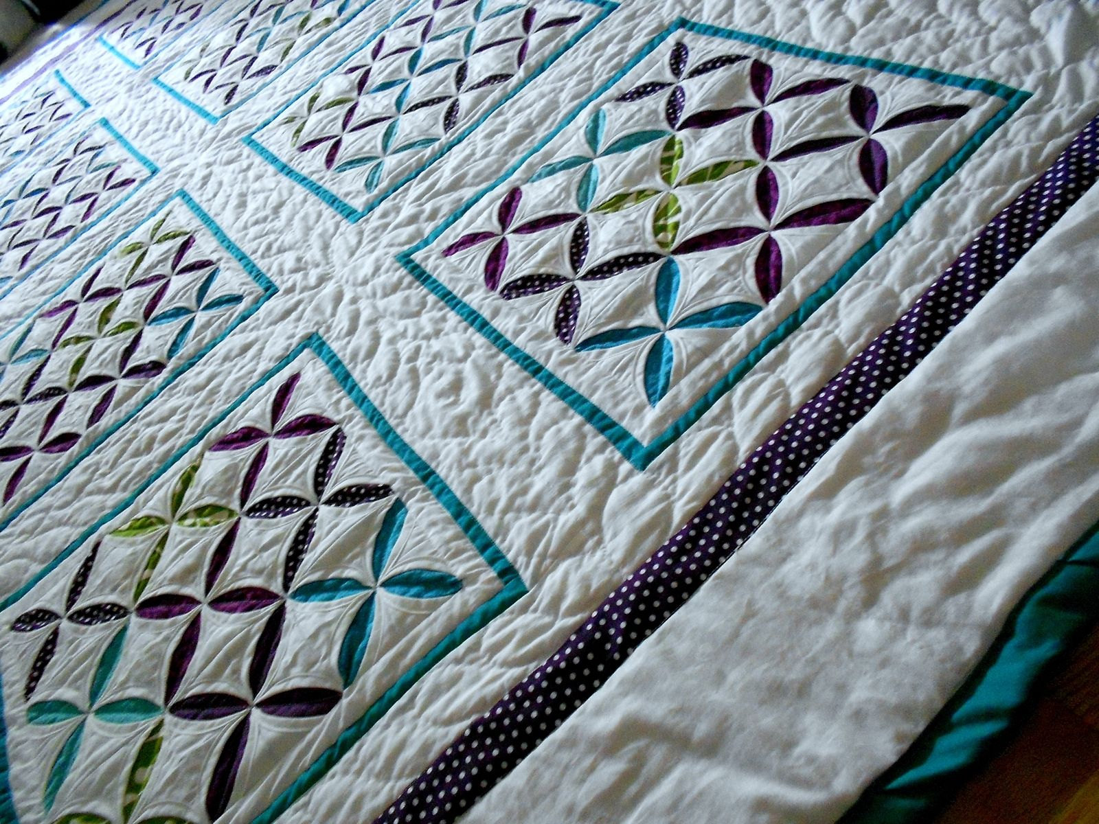 Hand Crafted Reverse Cathedral Windows Quilt By Katie Sews 4 U