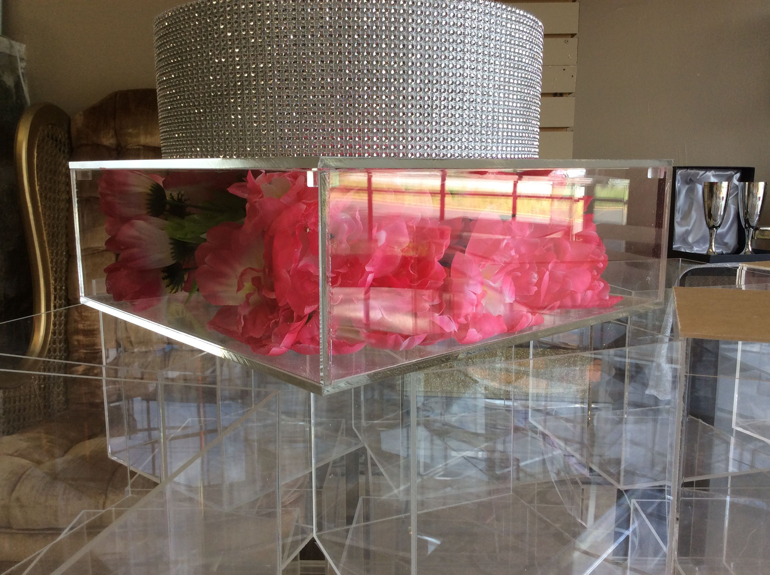 Buy A Handmade Clear Acrylic Cake Stand Box Removable Lids Lucite Custom Hand Made Made To