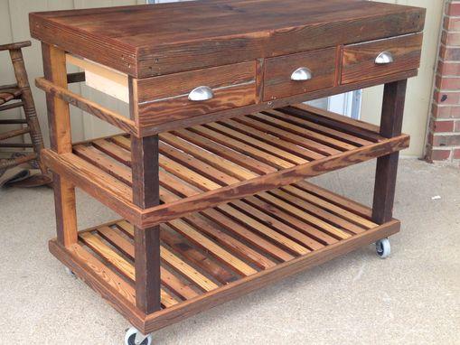 Custom Reclaimed Barnwood Kitchen Cart Bar Cart Buffet