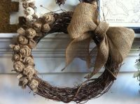 Hand Crafted 18in Rustic Burlap And Grapevine Wreath by ...
