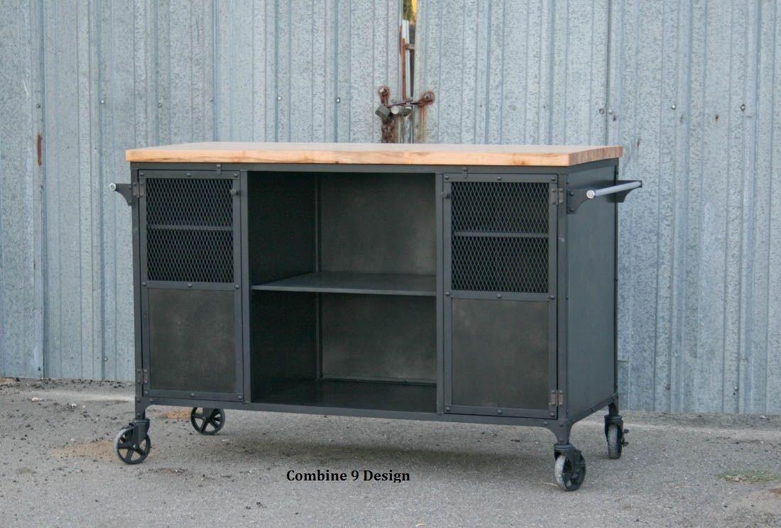 Buy A Custom Made Vintage Industrial Bar Cart Kitchen