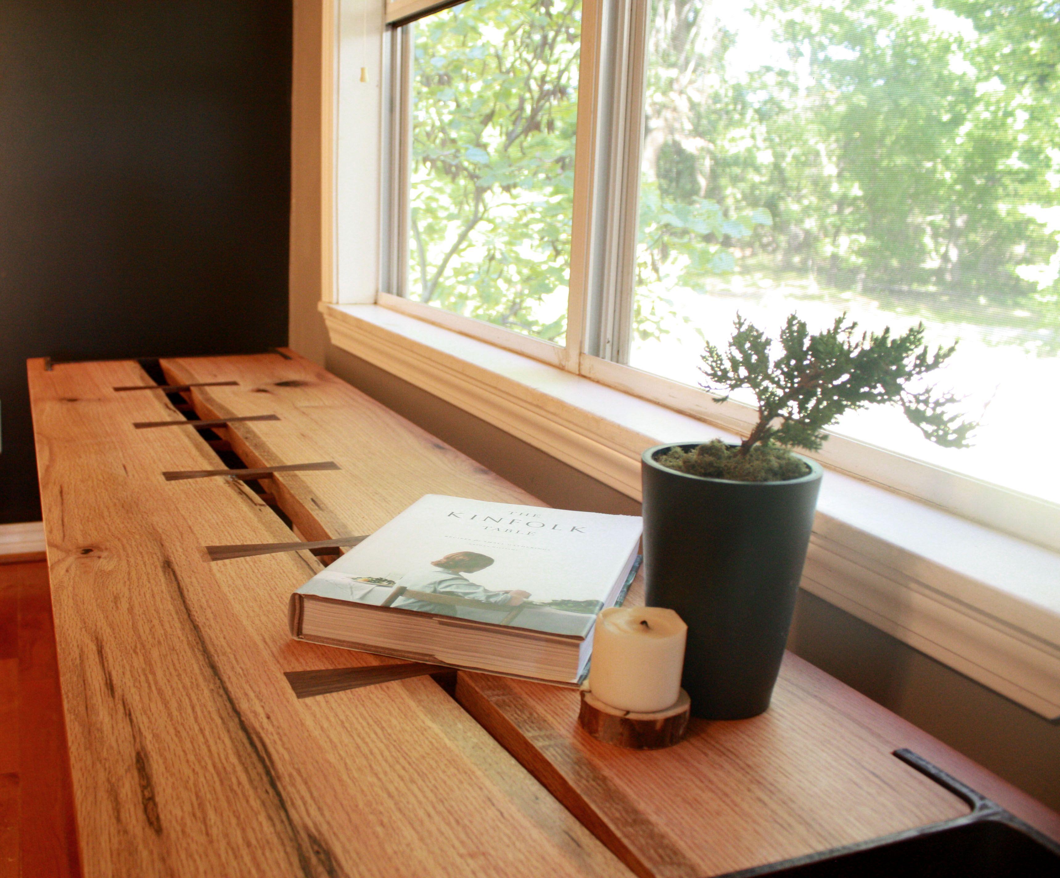Hand Made Live Edge Oak Window Bench With Salvaged I Beam