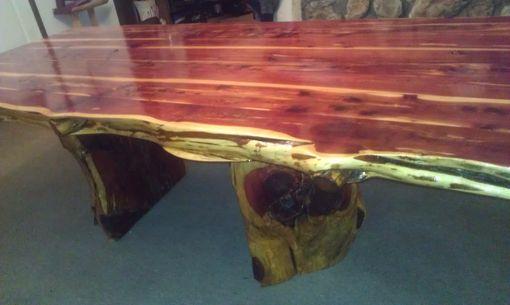 Custom Live Edge Cedar Dining Table Set By Cedar Furniture