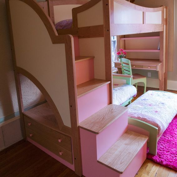 portfolio chair and ottoman target patio chairs folding handmade girl's twin loft / bunk bed with stairs, futon desk by sahn-lee crafts, llc ...