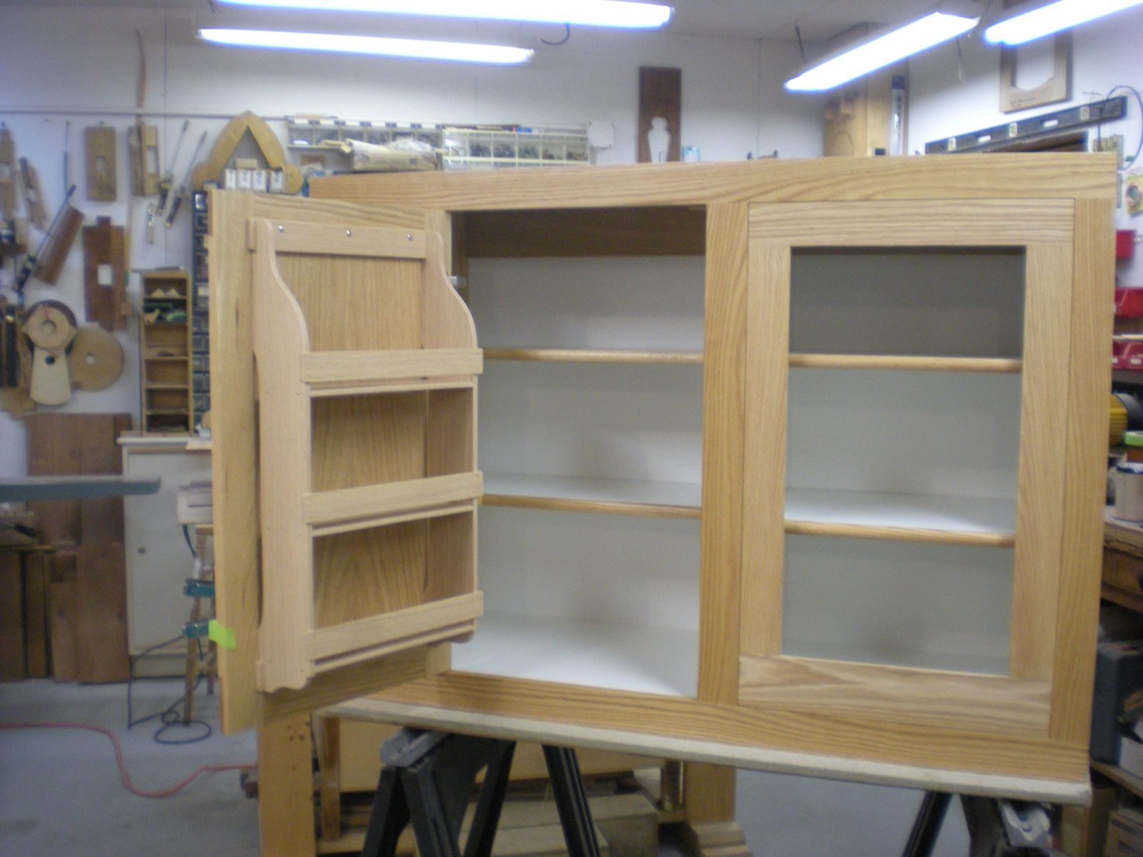 kitchen cabinet spice rack trailer cabinets hand made red oak with interior