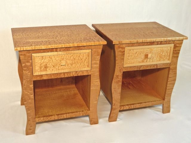 Hand Crafted Nightstands Pair Curly Maple Nightstands by