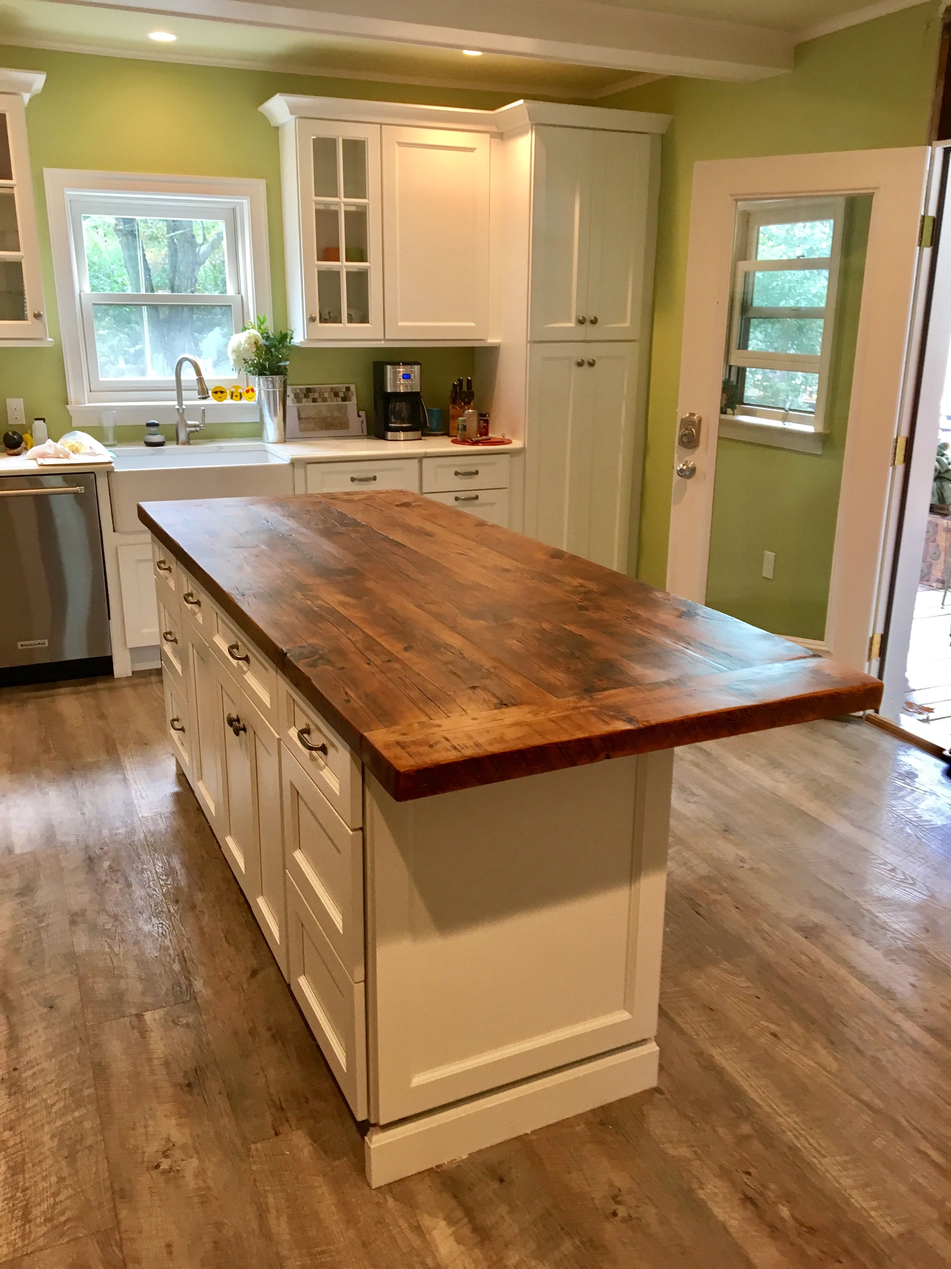 Hand Made Reclaimed Wood Kitchen Island Top by Elias
