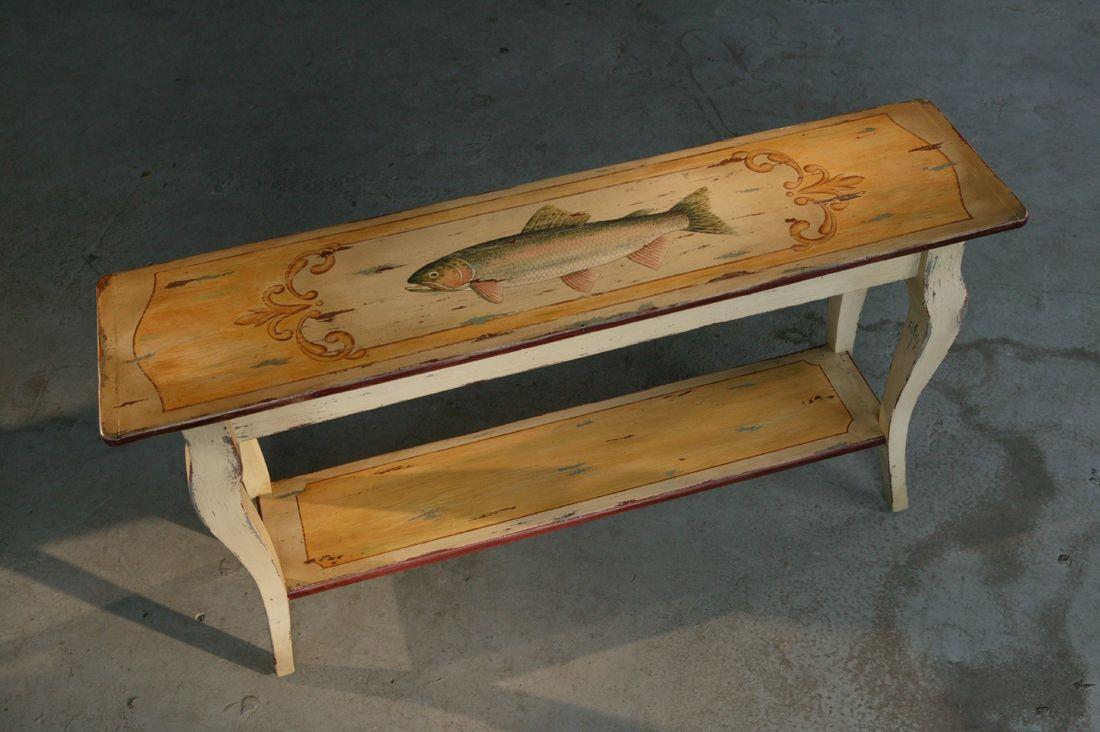 Handmade Custom Painted Rustic Sofa Table by