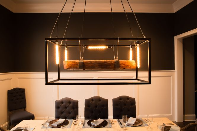 Custom Made Wood Beam Large Chandelier Framed Light With Edison Bulbs