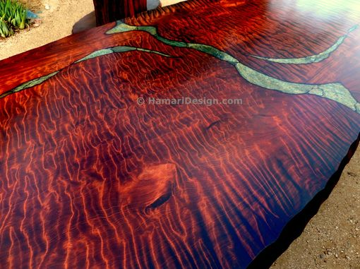 Custom Made Stone Inlaid Redwood Burl Dining Table by
