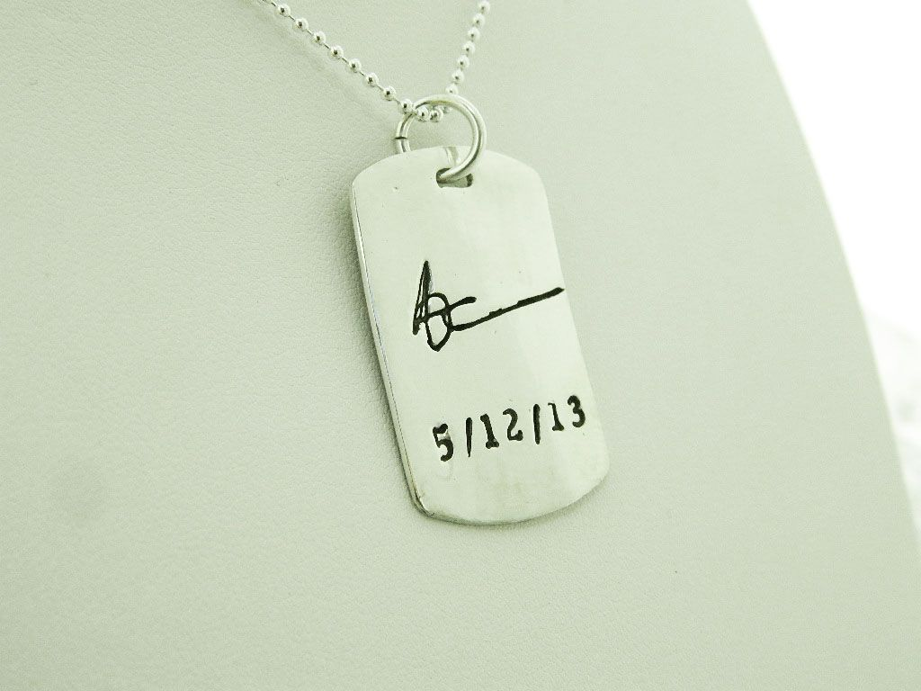 handwriting dog tag necklace