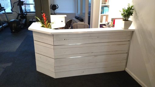 Hand Made White Washed Reclaimed Wood And Steel Reception Desk By Redwell