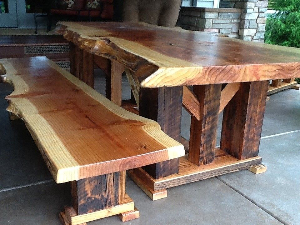 Handmade Redwood Bench Made Of Reclaimed Wood By Toby J'S