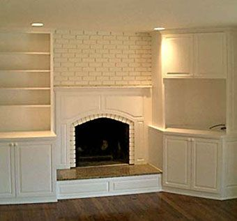 Handmade Custom Built Ins On Either Side Of Fireplace By